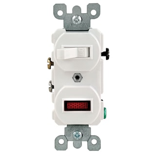 Leviton R52-05226-00W White Commercial Grade Pilot AC Combination Switch Toggle