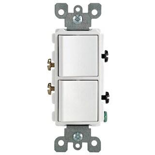 Leviton R62-05634-00W 15 Amp White Decora Dual Switch