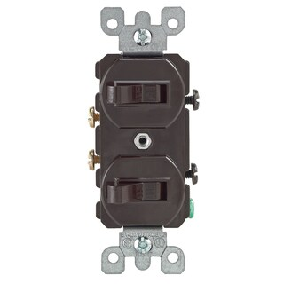 Leviton S00-05224-02S Brown Commercial Grade AC Quiet Duplex Combo Toggle Switch