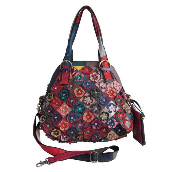 Amerileather Lorely Multicolor Leather Tote Bag