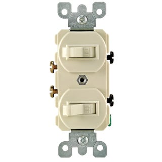 Leviton S02-05224-WSP White Commercial Grade AC Quiet Duplex Combo Toggle Switch