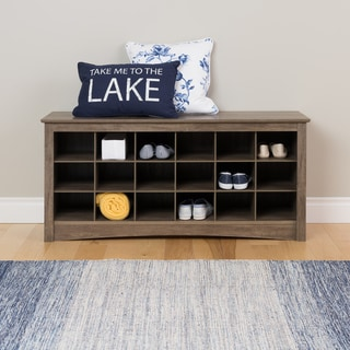Prepac Drifted Grey Cubby Storage Bench