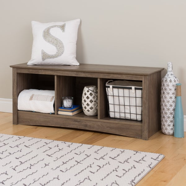Prepac Drifted Grey Wood Cubby Bench Free Shipping Today