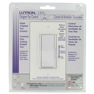Lutron DVFSQ-FH-WH 3 Speed White Diva Quiet Fan Control
