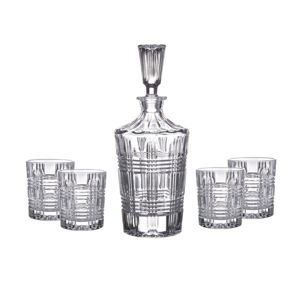 Shop Fitz and Floyd Bridgeport Clear Crystal Decanter and Glasses 5 ...
