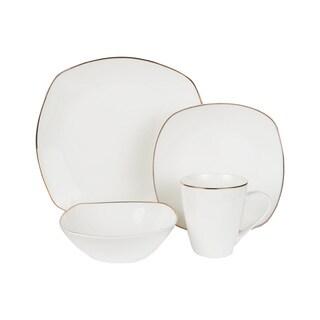 American Atelier Alyssa Gold Bone China Square 16-piece Dinnerware Set