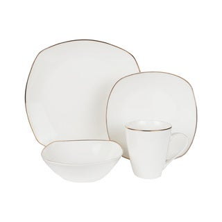 American Atelier Alyssa Gold Bone China Square 16-piece Dinnerware Set