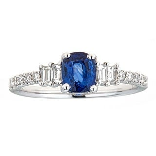 Anika and August 18K White Gold Ceylon Blue Sapphire and Baguette Diamond Ring
