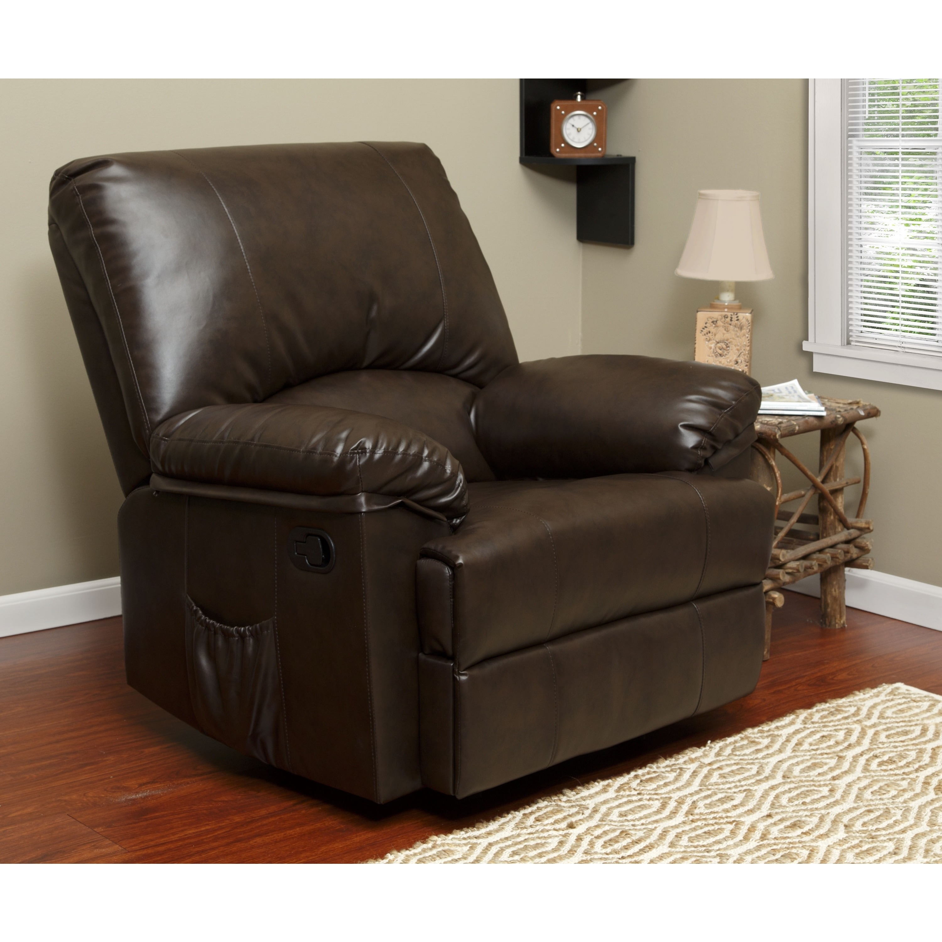 Brown Marbled Leather Relaxzen Rocker Recliner with Heat ...