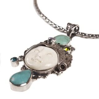 Ox Bone Halite Pendant Silver Chain Necklace (Indonesia)