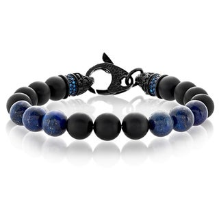 Crucible Men's Black Matte Onyx and Lapis Lazuli Bead Stainless Steel Bracelet - 9 inches (10mm Wide)
