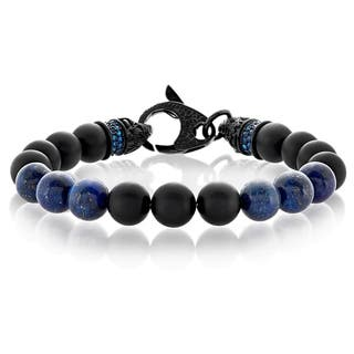 Crucible Men's Black Matte Onyx and Lapis Lazuli Bead Stainless Steel Bracelet - 9 inches (10mm Wide)|https://ak1.ostkcdn.com/images/products/12371718/P19196898.jpg?impolicy=medium