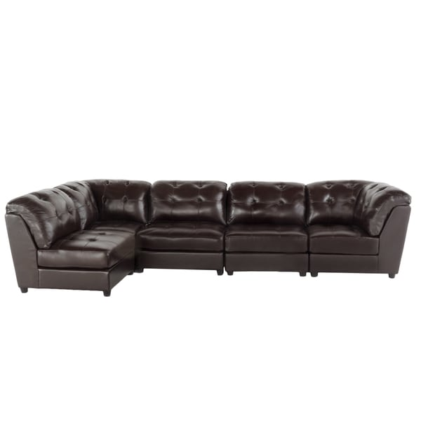 Christopher knight home regen 5 piece tufted leather for Khloe tufted sectional sofa