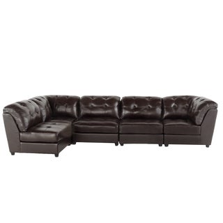 Christopher Knight Home Regen 5-piece Tufted Leather Sectional Sofa Set