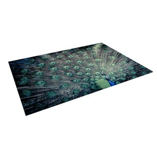 KESS InHouse Ann Barnes Majestic Peacock Feather Outdoor Patio Rug (4' x 5')