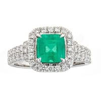Anika and August 18K White Gold Zambian Emerald and Diamond Ring