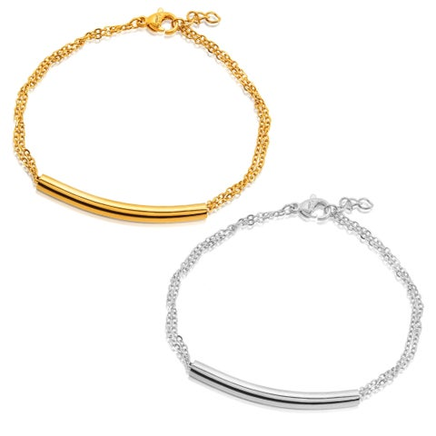 ELYA High Polish Cylinder Bar Double Cable Chain Stainless Steel Bracelet
