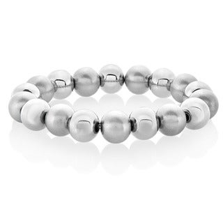 ELYA Dual Finish Stretch Bead Stainless Steel Bracelet