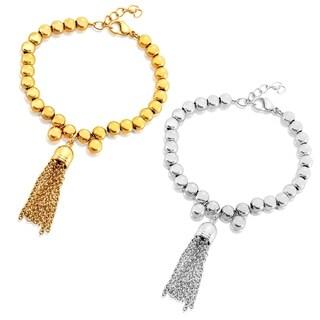 ELYA High Polish Tassel Beaded Stainless Steel Bracelet