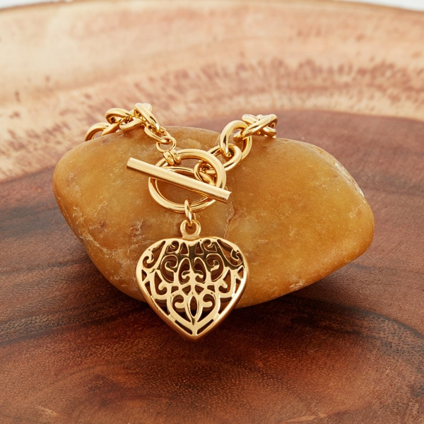 22mm Silver Yellow Plated Best Friend In Heart Charm