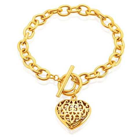 ELYA High Polish Heart Charm Stainless Steel Cable Chain Bracelet