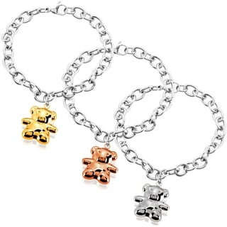 ELYA High Polish Bear Charm Stainless Steel Cable Chain Bracelet