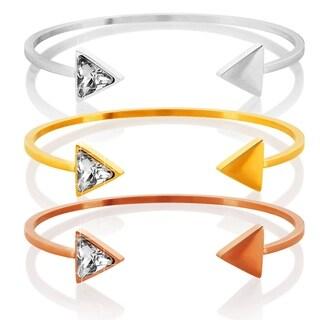 ELYA High Polish Cubic Zirconia Triangle Stainless Steel Polished Cuff Bracelet