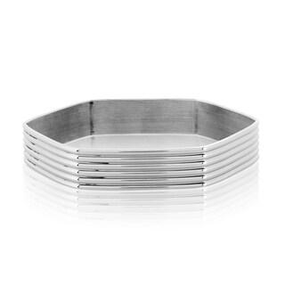ELYA High Polish Striped Hexagon Stainless Steel Bangle Bracelet