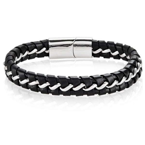 d9eac5ca8ec56 Shop Crucible Interwoven Stainless Steel Curb Chain Leather Bracelet ...