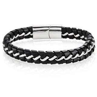 Crucible Men's Stainless Steel Interwoven Black Leather Curb Chain Bracelet - 8.5 inches (12mm Wide)