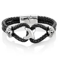 Crucible Men's Stainless Steel Twin Skull Black Braided Double Strand Leather Bracelet - 8.5 inches (27mm Wide)