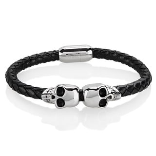 Crucible Men's Stainless Steel Twin Skull Black Braided Leather Bracelet - 8.5 inches (12mm Wide)