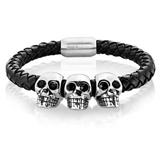 Crucible Men's Stainless Steel Triple Skull Black Braided Leather Bracelet - 9.25 inches (19mm Wide)