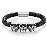 Crucible Stainless Steel Triple Skull Black Braided Leather Bracelet - 8.5 inches (19mm)
