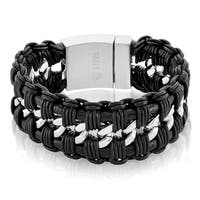 Crucible Men's Stainless Steel interwoven Double Strand Black Leather Curb Chain Bracelet - 9 inches (33mm Wide)