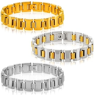 Crucible Men's Dual Finish Stainless Steel Cylinder Link Bracelet - 8.5 inches (13mm Wide)