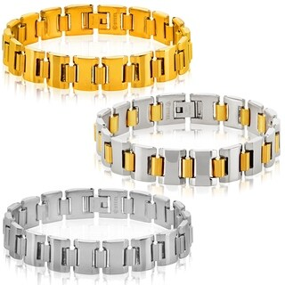 Crucible Stainless Steel Cylinder Link Bracelet (13mm Wide)