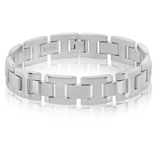 Crucible Men's Dual Finish Stainless Steel H Link Bracelet - 8.5 inches (15mm Wide)