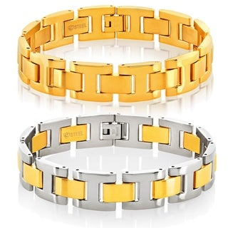 Crucible Men's Gold Plated Dual Finish Stainless Steel H Link Bracelet - 8.5 inches (15mm Wide) (Option: Two Tone)
