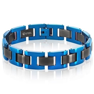 Crucible Men's Black and Blue Dual Finish Stainless Steel H Link Bracelet - 8.5 inches (15mm Wide)