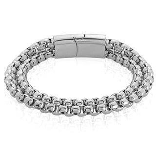 Crucible Men's Polished Stainless Steel Double Strand Box Chain Bracelet - 8.5 inches (11mm Wide)