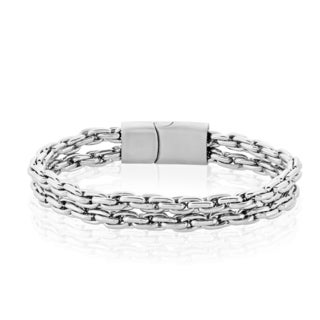 Crucible Men's Stainless Steel Double Strand Anchor Chain Bracelet - 8.75 inches (11mm Wide)