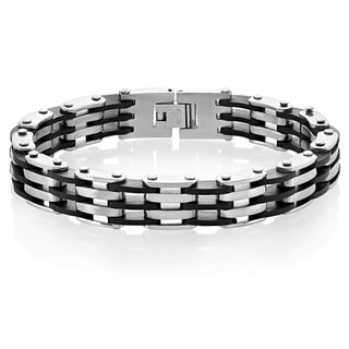 Men's Two-Tone Stainless Steel Black Rubber Link Bracelet - 8.5 inches (13mm Wide)