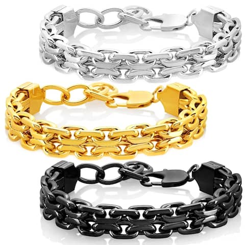Crucible Stainless Steel Double Strand Anchor Chain Bracelet - 8.5 inches (17mm Wide)