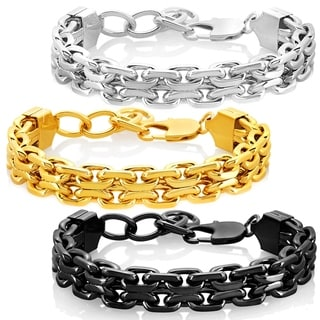 Crucible Men's High Polished Stainless Steel Double Strand Anchor Chain Bracelet - 8.5 inches (17mm Wide)
