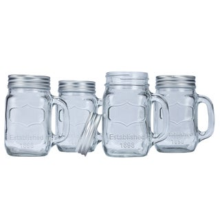 Euro-Ware Glass Mason Jar Mugs (Set Of 4)
