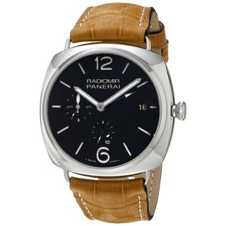Panerai Men's PAM00323 'Radiomir Acciaio' 10 Days GMT Automatic Brown Leather Watch