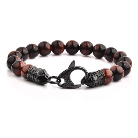 Crucible Gun Metal Stainless Steel Red Tiger's Eye Beaded Bracelet (10mm) - 8.5""