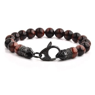"Crucible Gun Metal Stainless Steel Red Tiger's Eye Beaded Bracelet (8.5"")"