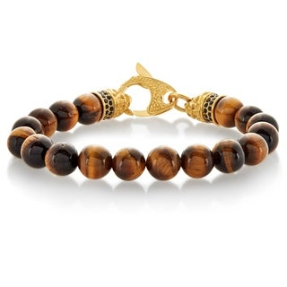 Crucible Men's Tiger Eye Bead Gold Plated Stainless Steel Bracelet - 9 inches (10mm Wide)
